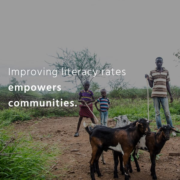Impact Tile. Improving literacy rates empowers communities.